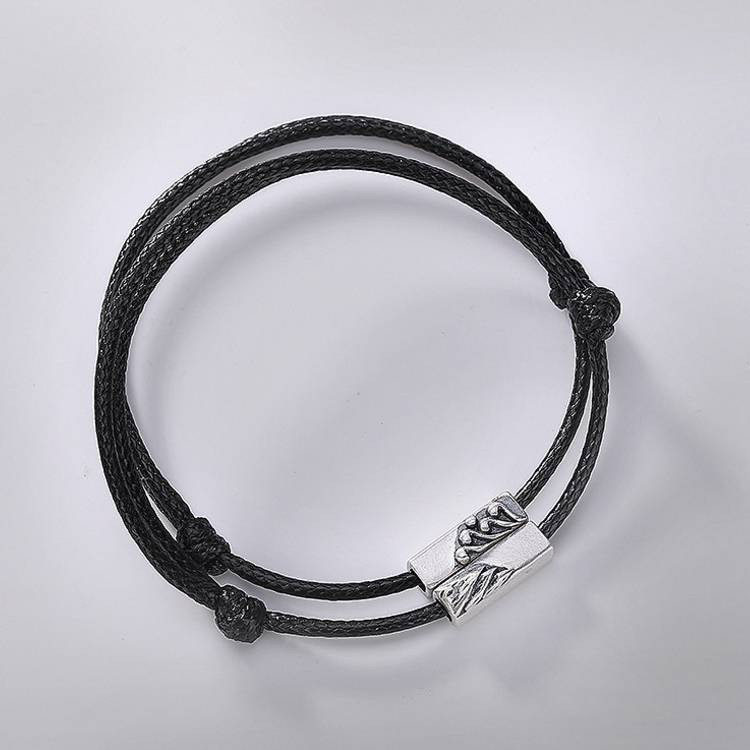 925 sterling silver literary simple wild male and female retro personality couple braided rope bracelet
