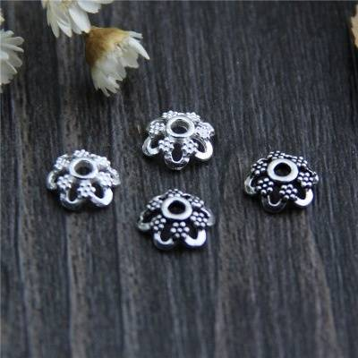 925 Solid Sterling Silver Flower Bead Caps End Beads DIY Jewelry Finding
