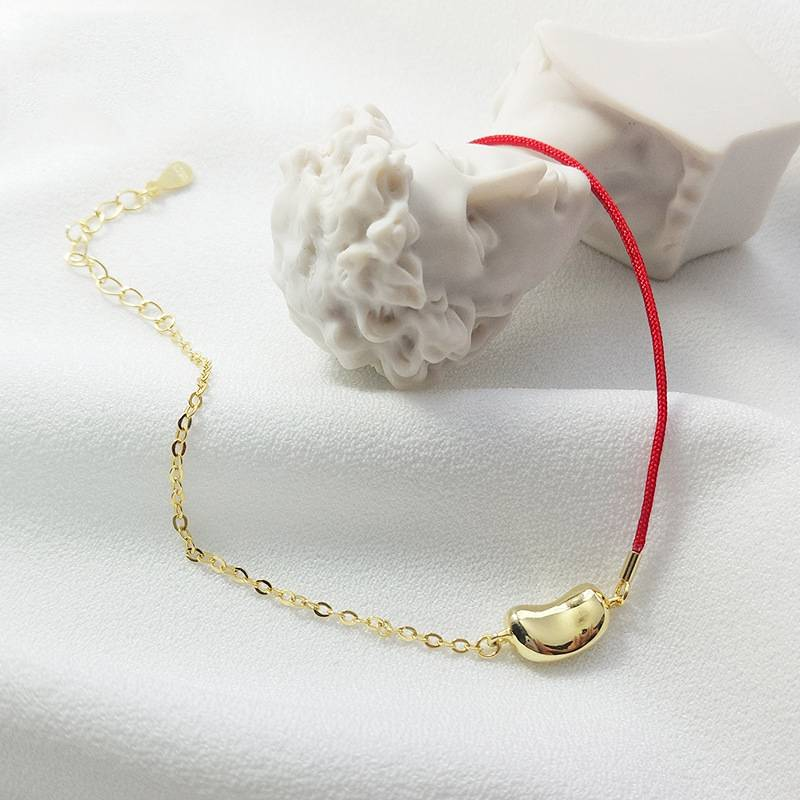 Hot Sale 100% 925 Silver Korea Style Simple Trendy Jequirity Red Rope Chain Bracelets Jewelry for Couples