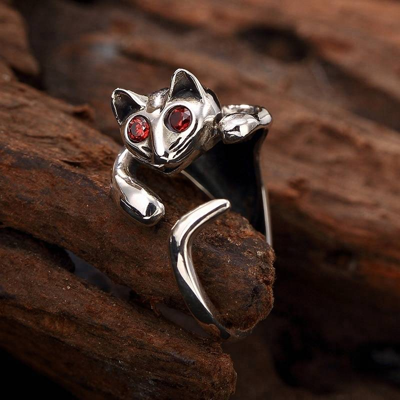 New Design 925 sterling Silver Cat Rings Adjustable Open Cute Kitten Cat Animal Rings Bring fortune luck jewelry