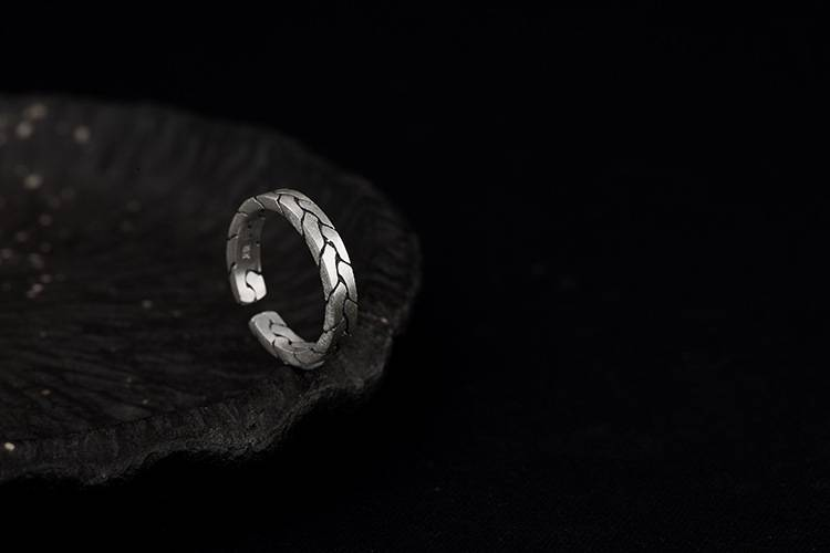 Real 990 Fine Silver Jewelry Crack Women Vintage Opening Rings Simple Fashion Weave Twisted Ring Ethnic Bijoux