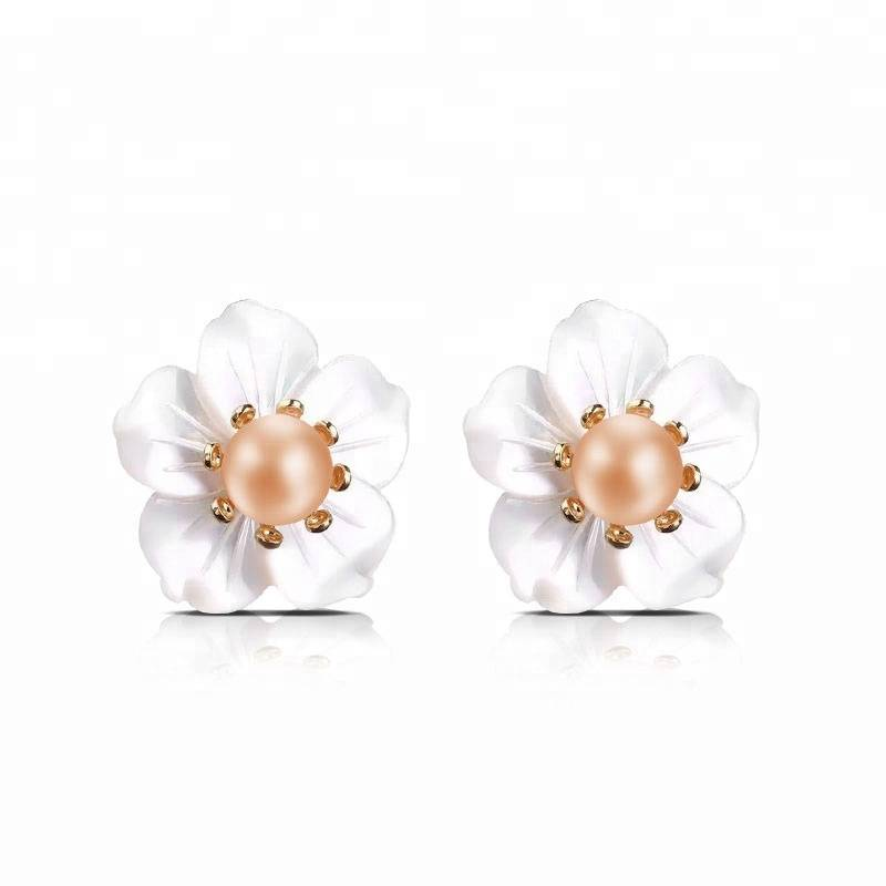 100% S925 Sterling Silver Natural Freshwater Pearl Ear Studs Shell Hibiscus Flower Fashion Jewelry for Women