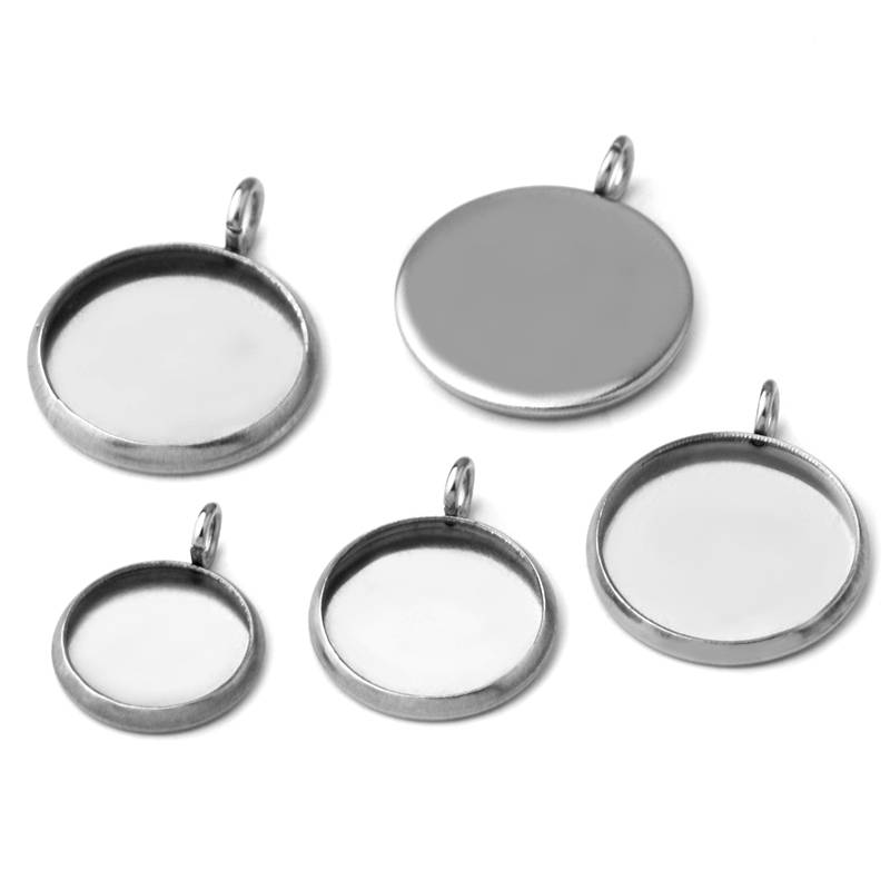 8-25mm Stainless Steel Single Circle Round Blank Pendant Jewelry with Bezel Setting Tray Cameo Cabochons