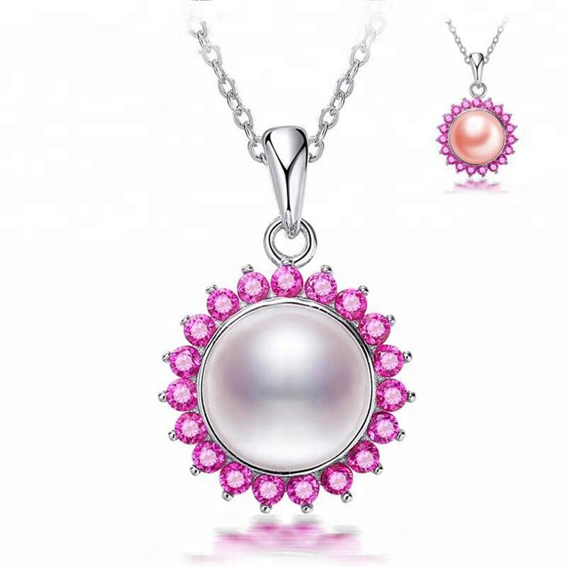 100% 925 Sterling Silver Jewelry Red Corundum Crystal Natural Pearl Necklace Pendant Featured Image