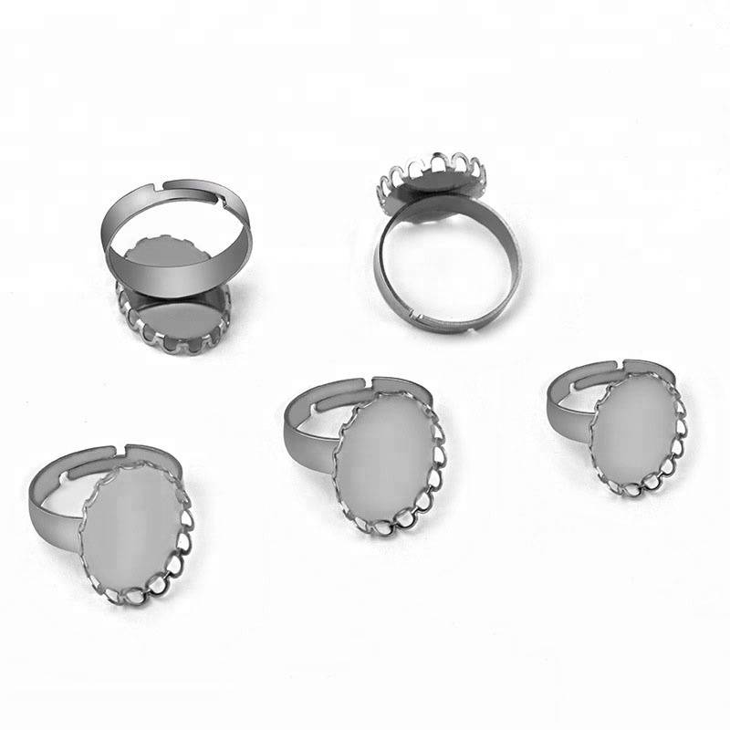 13*18 18*25MM Blank Stainless Steel Rings Bases Settings with Lace Bezel tray Cabochon DIY Findings