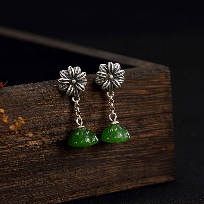 925 Silver Tassel Drop Earrings for Women Jewelry Pure Original S925 Silver Sterling Natural Hetian Green Jade Jasper Earring