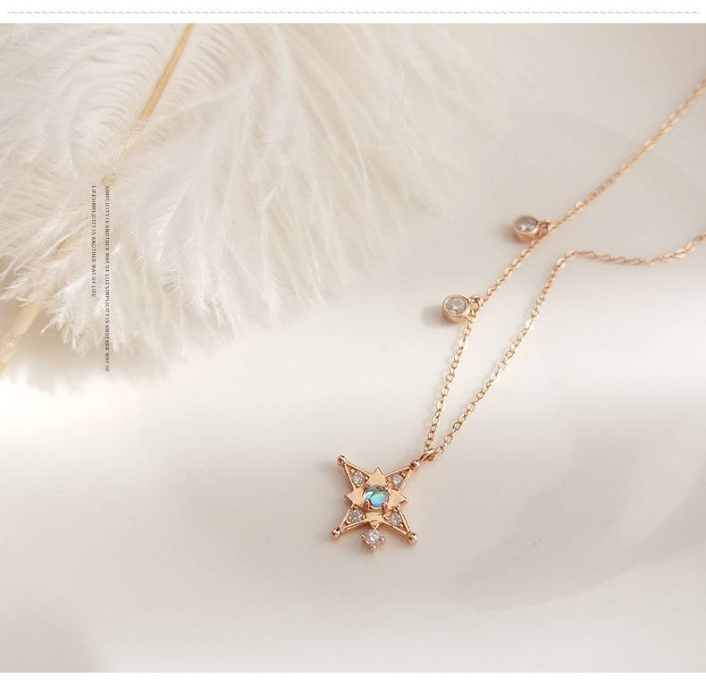 Korea New Style 925 Sterling Silver  for Women Simple Fashion Chic Gold Zircon Pendant Necklace Jewelry