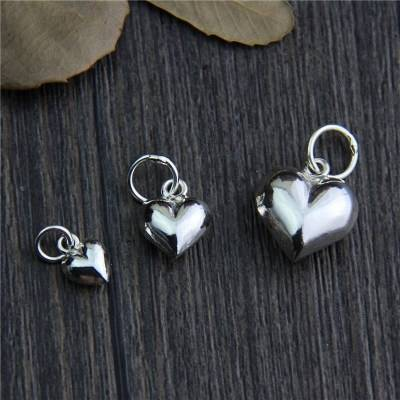 100% 925 Sterling Silver Romantic Heart Pendant Charm fit Women Bracelet & Necklace Fine Jewelry