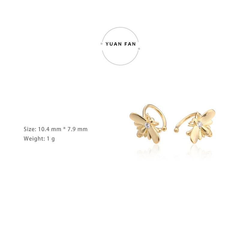 2019 New style Sterling Silver Cute Gold Bees Stud Ear Clips No Holes Earrings for Women Jewelry