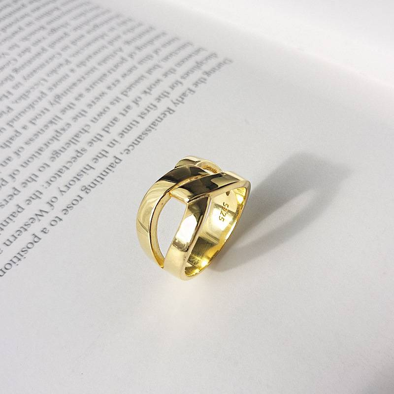 Korea Hot Style Pure 925 Sterling Silver Ring Delicate Fashion Gold Hyperbole Ring Women Men Jewelry