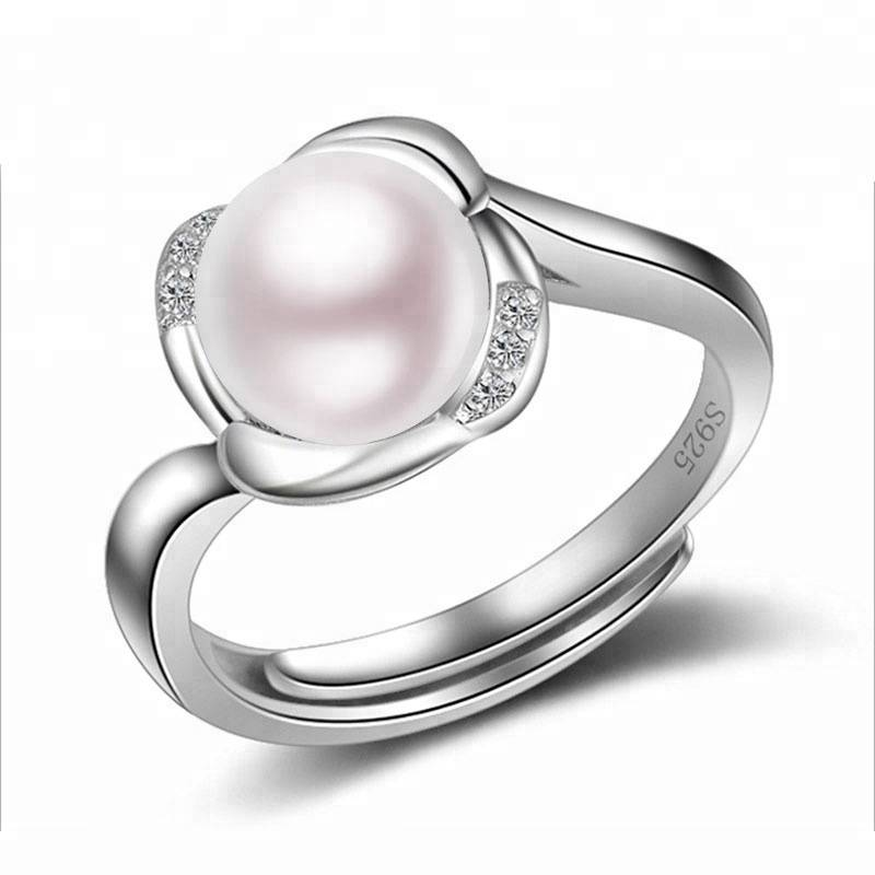 Fashion Natural Pearl Flower Ring for Women 100% 925 Sterling Silver Hand Accessories