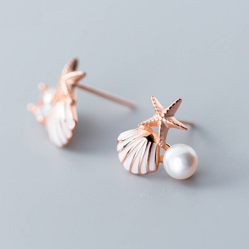 Korea New Design 925 Sterling Silver Simple Fashion Shell Starfish Pearl Asymmetry Stud Earring Jewelry for Women