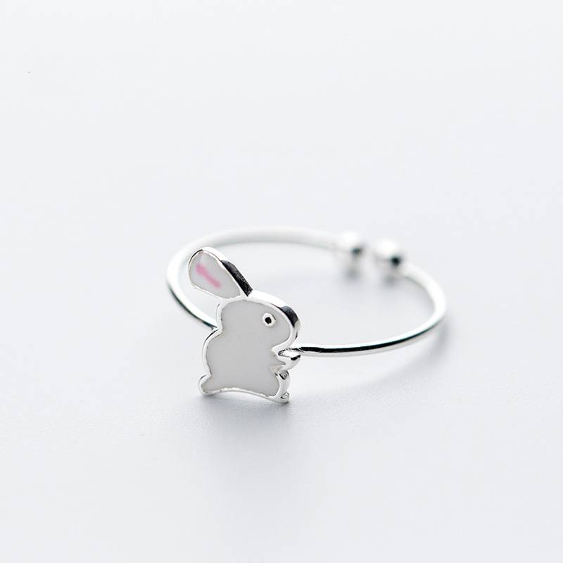 Delicate Wholesale Japan Korea Style 925 Sterling Silver Fashion Cute Sweet Rabbit Open Ring Women Jewelry