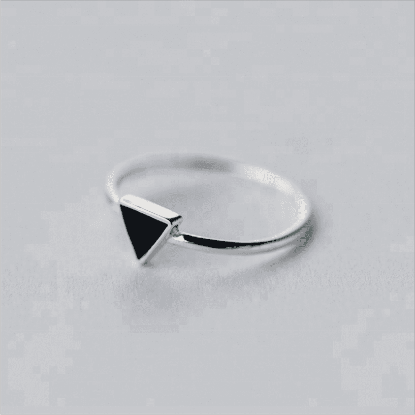 Women Silver Indian Jewelry Black Triangle Stone Cocktail Ring
