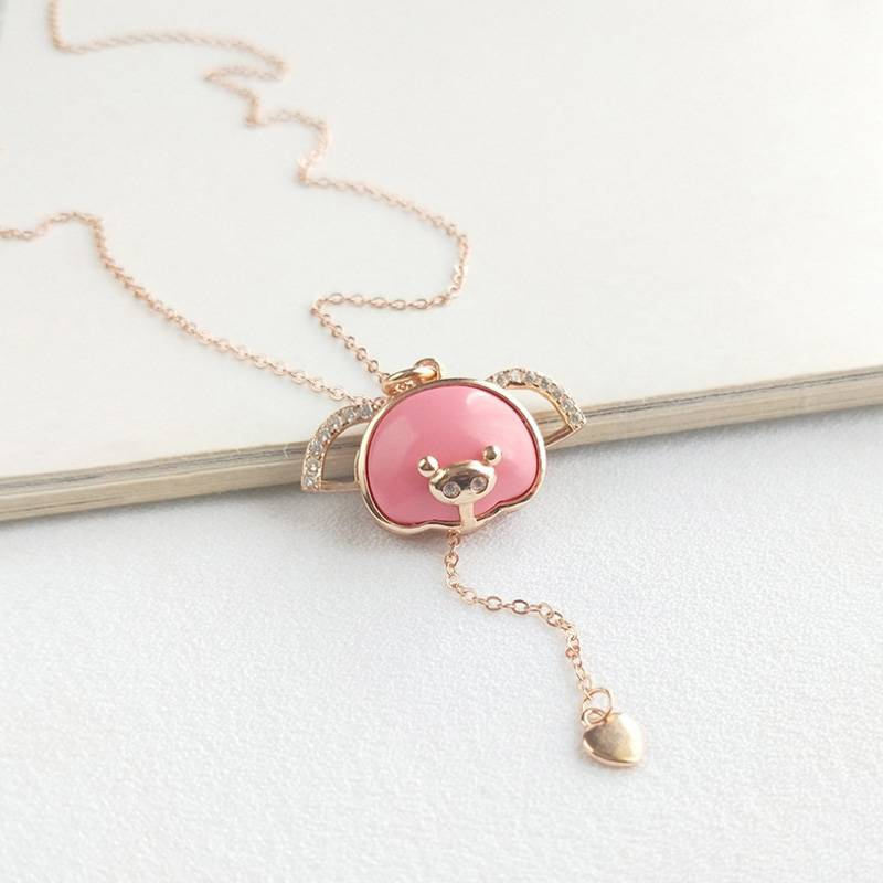2019 New Style 925 Sterling Silver Necklace for Women Simple Fashion Chic Cute Pink Pig Pendant Necklace Jewelry