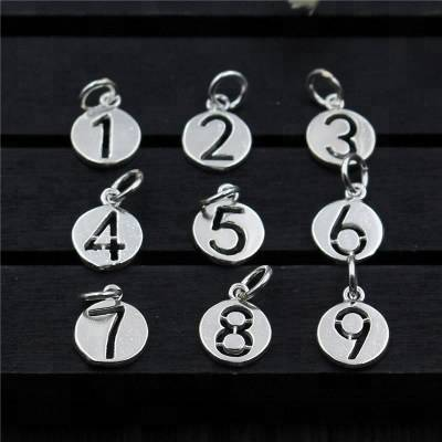 Good Quality Popular Number Design 925 Real SilverHanging Charm Fitting Silver Charm Bracelet
