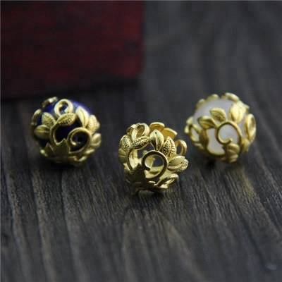 Silver Jewelry S925 Silver Accessories DIY Bracelet Hollow Half-Pack All Toggle Flower Hat Beads Cap Jewelry Accessories
