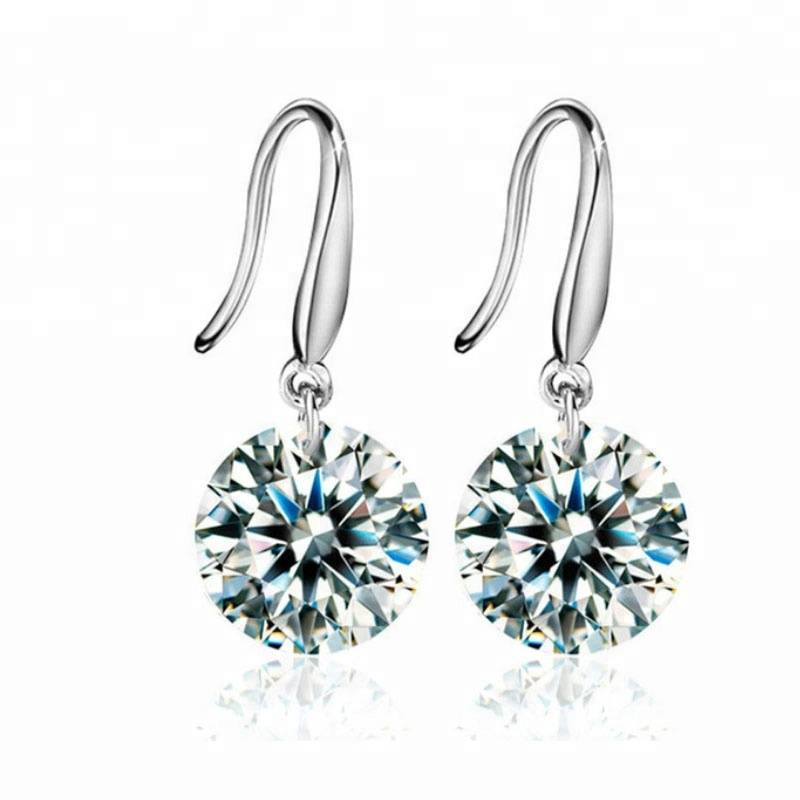 2018 New Real 925 Sterling Silver Jewelry Drop Earrings Round Zircon CZ Fashion Jewelry Crystal Studs for Women Men