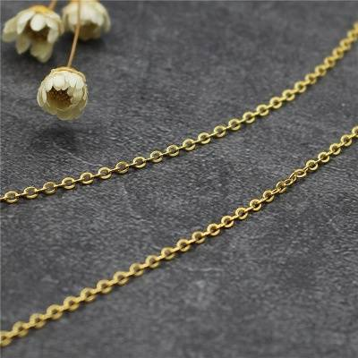 Gold Color Cross Chain 925 Sterling Silver Link Chain Fashion Necklace for Pendant Cabel Women Silver Jewelry