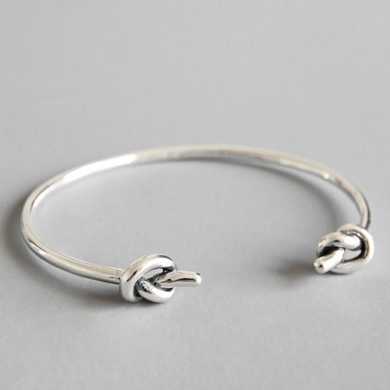 Korea New Design 925 Sterling Silver Simple Fashion Rope Knot Open Bangle Bracelets Jewelry for Women