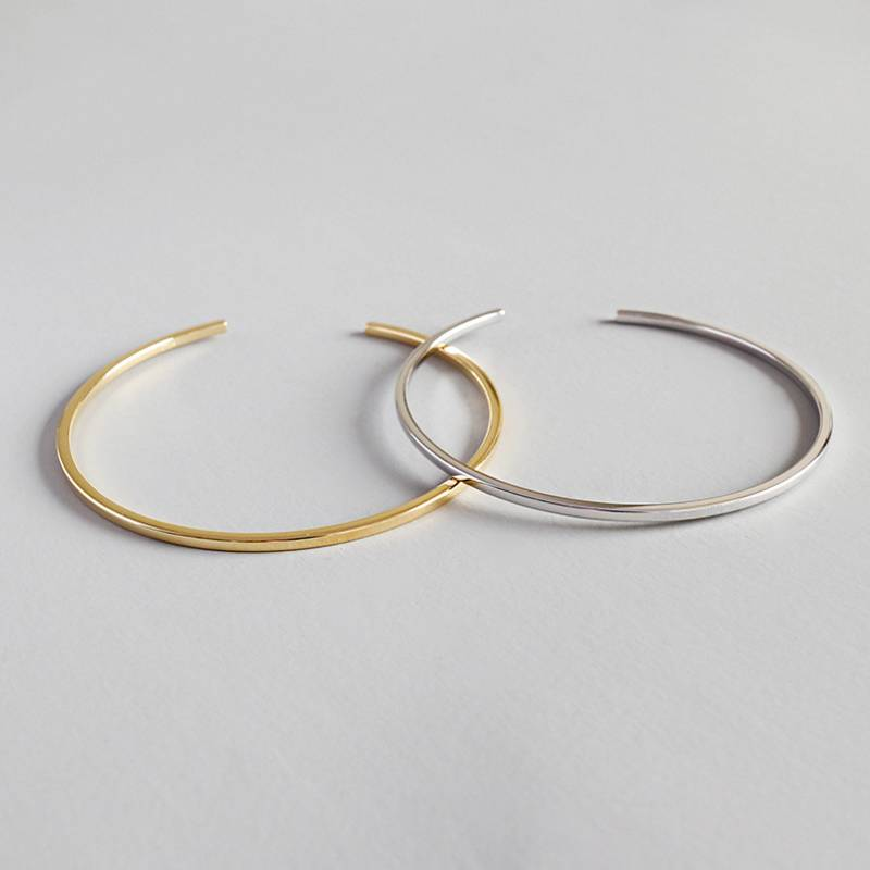 Factory Price 100% 925 Sterling Silver Fashion Minimalism Gold Open Bangle Bracelets Fine Jewelry for Female