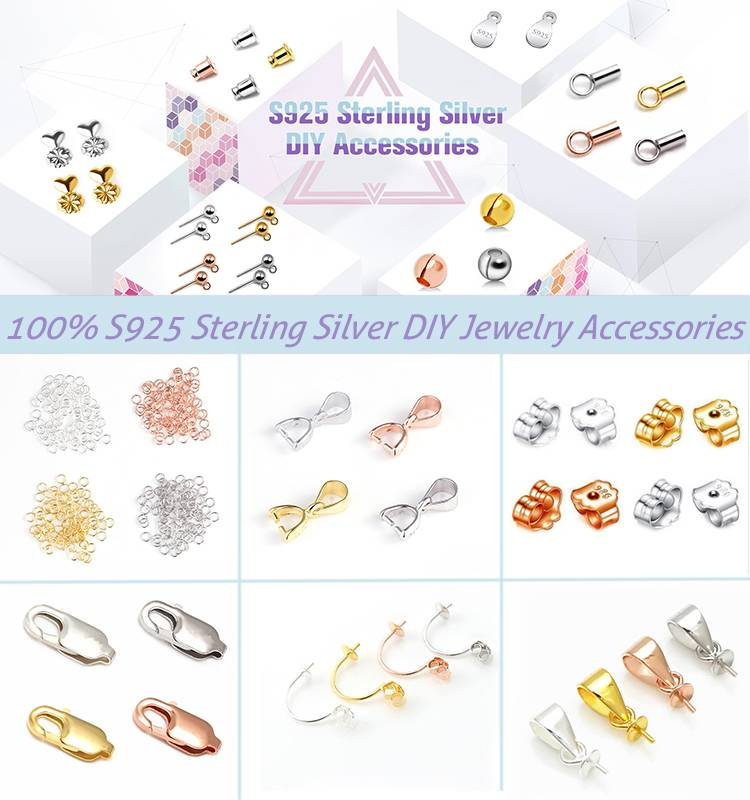 Rose Gold Handmade Jewelry Findings 925 Sterling Silver Pinch Clip Bail Connector Pinch Clasp Pendant Making Accessories