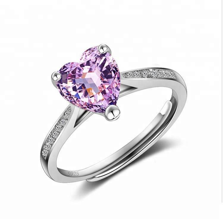 100% 925 Sterling Silver Adjustable Heart-shaped Ring For Women Zircon Marriage Proposal Engagement Rings Featured Image