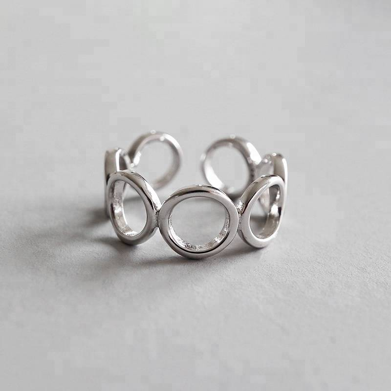 S925 Sterling Silver Fashion Simple Geometric Glossy Circle Opening Rings Jewelry