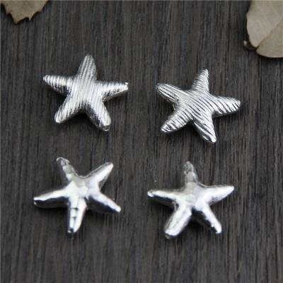 925 Sterling Silver Bright Hammer Starfish Star Spacer Beads DIY Bracelet Necklace