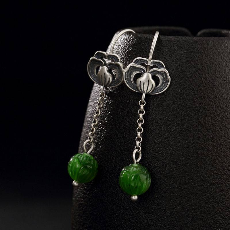Real S 925 Sterling Silver Natural Jade Lotus Women Earrings Handmade Flower Brincos Luxury Green Jade Vintage Bijoux