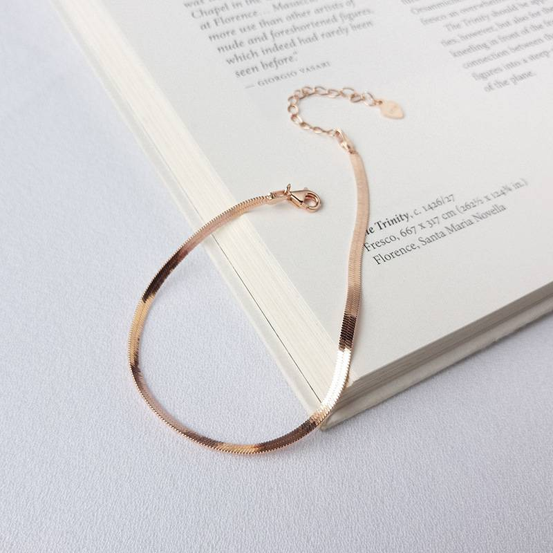 Factory Price 100% 925 Silver Fashion Minimalism Delicate Rose Gold Snake Bone Chain Bracelets Bangle Fine Jewelry for Female