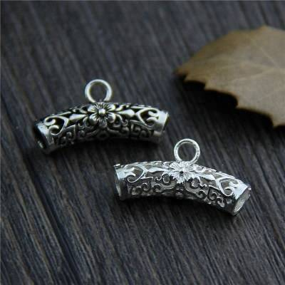 100% 925 Sterling Silver Tube Beads Charms Thai Silver Bracelet Bead DIY Jewelry Accessories Featured Image