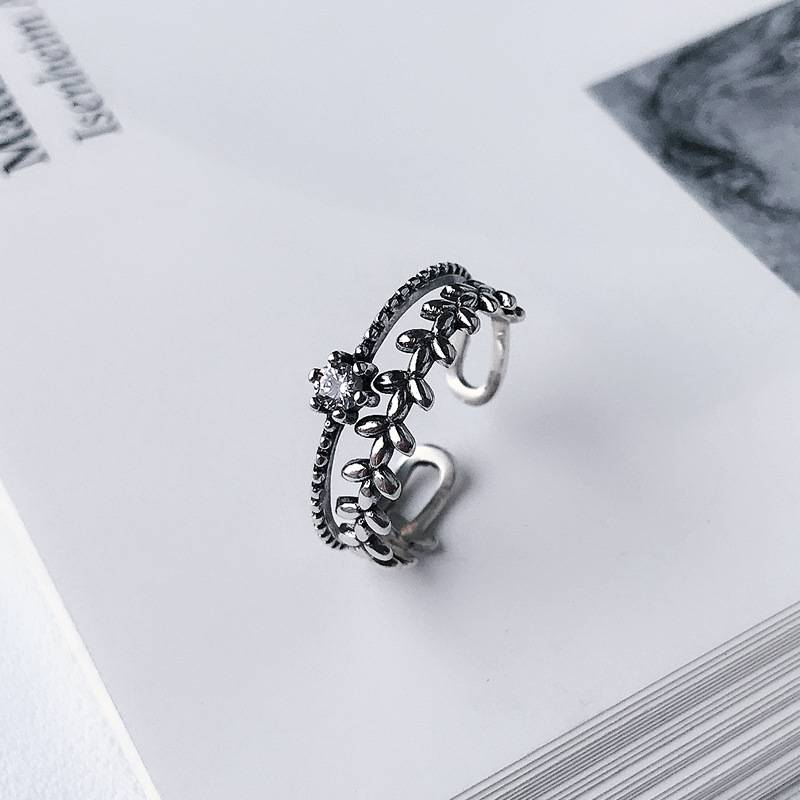Korea Hot Style 925 Sterling Silver Simple Retro Vintage Zircon Leaves Double Layer Open Ring Women Jewelry