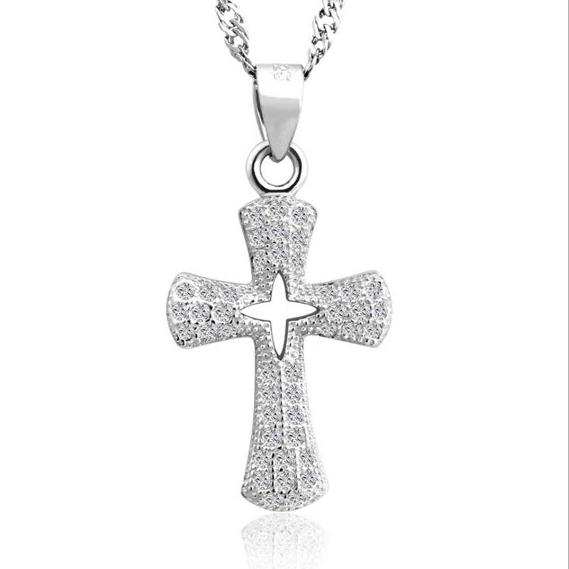 Lucky Female Ladies Cross Crystal Pendant Necklace 925 Silver White AAA Zircon Necklaces For Women Best Lover Choker