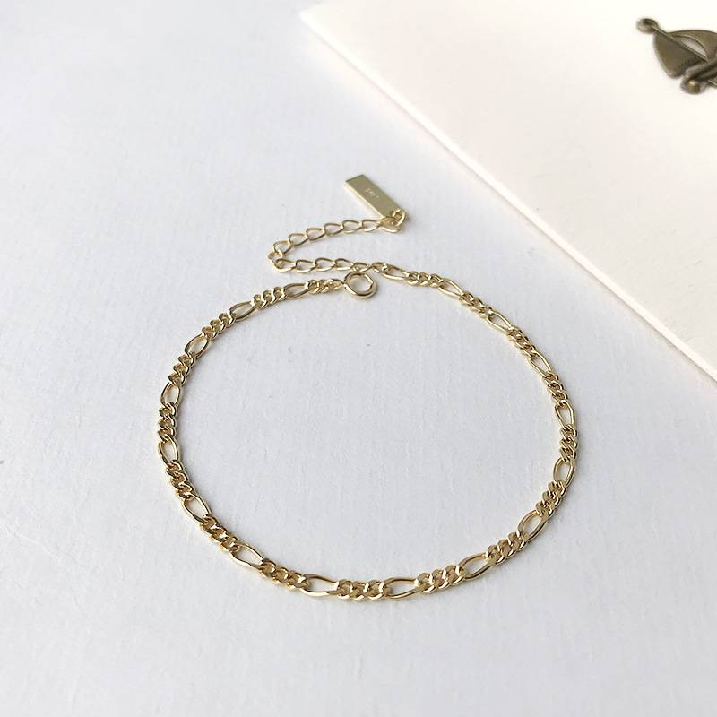 Factory Price 100% 925 Silver Fashion Minimalism Delicate Gold Chain Bracelets Fine Jewelry for Female