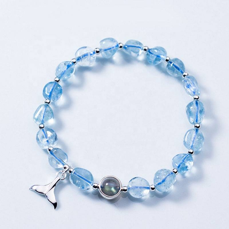 Hot High Quality Wholesale Fashion Sweet Moonstone Blue Irregular Crystal Fishtail Pendants Bracelets Fine Jewelry for Women