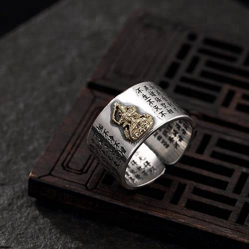 999 Solid Sterling Silver Buddhism Buddha Band Ring For Men Women Adjustable Open Ring
