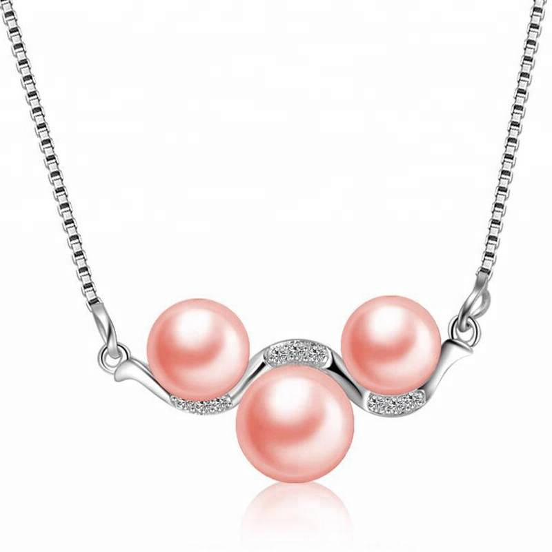 100% 925 Sterling Silver 3 Natural Pearls Necklace&Pendant High-grade Fashion Zircon Pendant Accessories