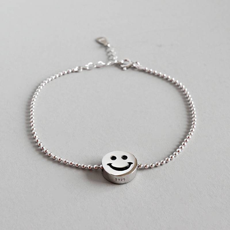 Pure 925 Sterling Silver Bracelets European American New Design Creative Concise Smile Face Bracelets Fine Jewelry