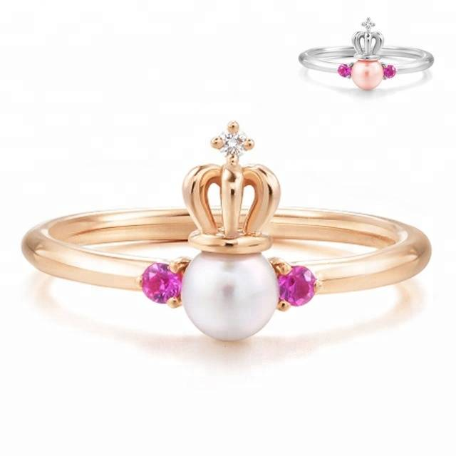 100% 925 Sterling Silver Natural Pearl Crown Ring Zircon Jewelry Open Ring for Women Lover Featured Image