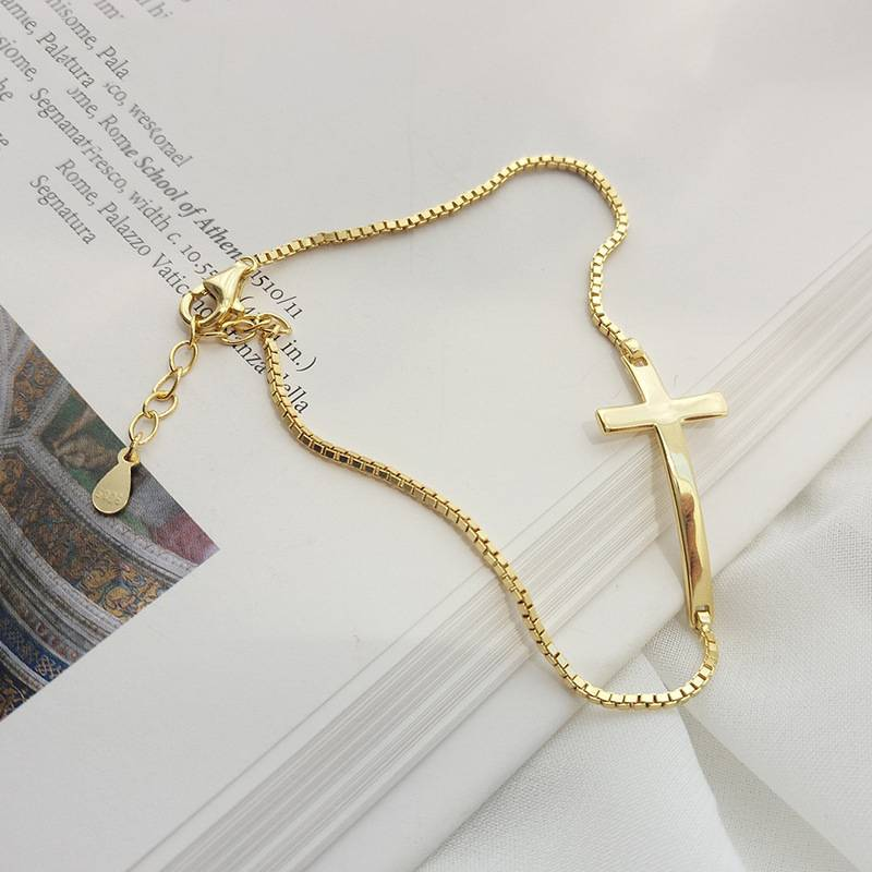 Korea Hot Style Pure 925 Sterling Silver Bracelets for Women Delicate Fashion Gold Cross Bangle Jewelry