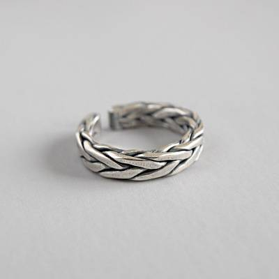 100% S925 Sterling Silver Adjustable Ring Geometry Weaving Lines Finger Rings For Women Girl Party Jewelry Gifts
