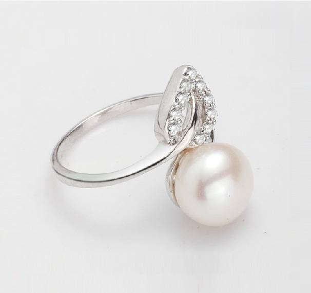 100% 925 Sterling Silver 9-10mm natural pearl Woman's Ring Water droplet leaf Jewelry Gift