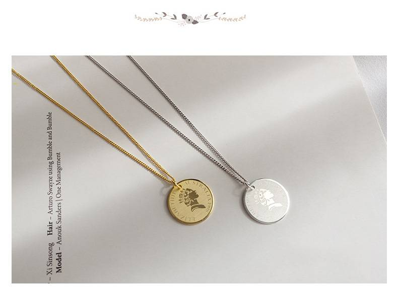 Korea Hot Style 925 Sterling Silver Simple Retro Vintage Round Persin Coins Pendant Choker Clavicle Necklace Women Jewelry