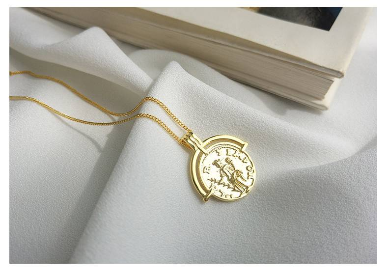 Korea Hot Style Pure 925 Sterling Silver  for Women Delicate Fashion Gold Coins Pendant Necklace Jewelry