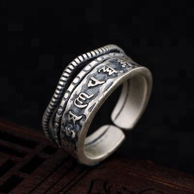 990 Pure Silver Buddha Six Words' Mantra Rings for Women Men Gifts