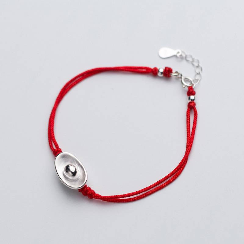 Factory Price 100% 925 Silver Fashion Concise Delicate Gold Ingot Red Rope Bracelets Fine Jewelry for Female