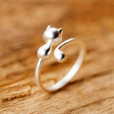 Fashion Charm 100% 925 Sterling Silver Sticky Long Tail Cat Finger Rings for Women Girl Adjustable Engagement Ring Jewelry