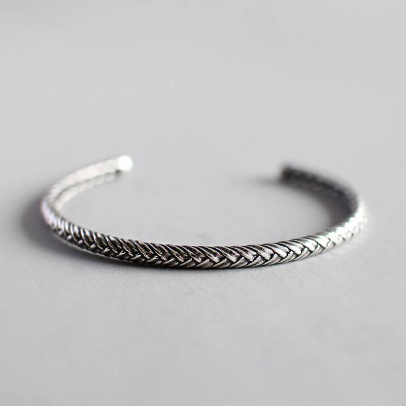 Korea Hot Style 925 Sterling Silver Simple Retro Vintage Twist Open Bracelets Bangle Jewelry for Women/Men