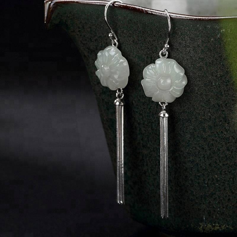 Real 925 Sterling Silver Engraved Natural White Jade Flower Dangle Earrings Women Ethnic Jewelry Tassels Brincos 2018